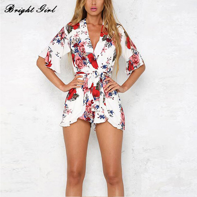 BRIGHT GIRL Summer Sexy Jumpsuits V-Neck Floral Jumpsuit Women Clothes Romper With Belt Hot Sale Loose Jumpsuits Drop Shipping