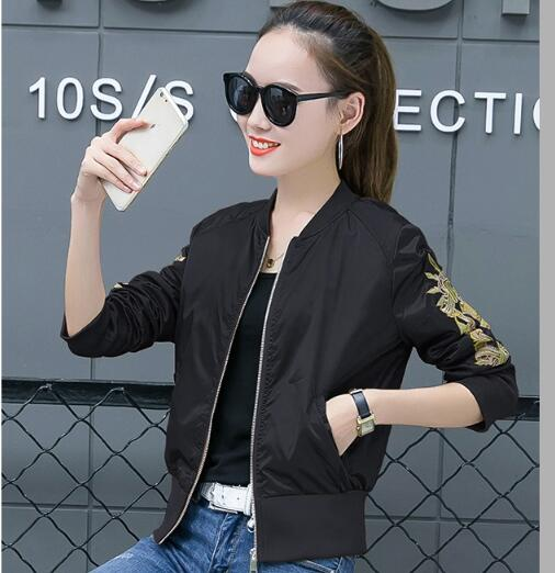 Carol Diaries Vintage embroidery basic jacket coat Autumn 2018 street bomber jacket Women baseball jackets Spring outwear