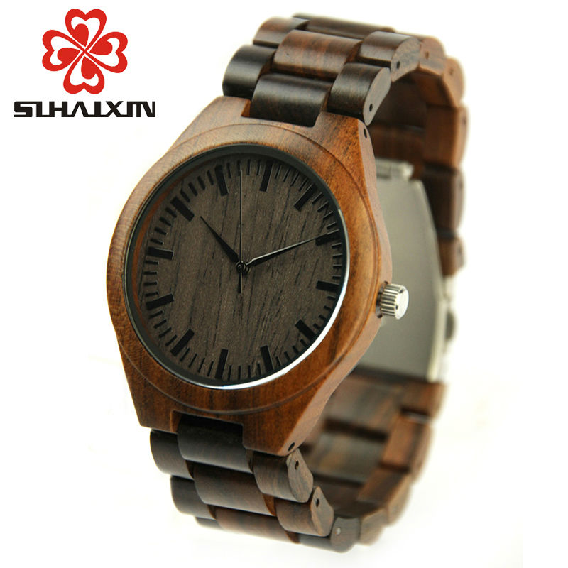 SIHAIXIN Minimalism Watch Wood Male 2017Luxury Brand Full Sandalwood Wooden Strap Handmade Watches Quartz Men Clock Relogio bobo bird brand new sun glasses men square wood oversized zebra wood sunglasses women with wooden box oculos 2017