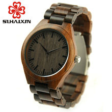 SIHAIXIN Minimalism Watch Wood Male 2017Luxury Brand Full Sandalwood Wooden Strap Handmade Watches Quartz Men Clock Relogio