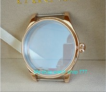 44mm PARNIS 316L Stainless steel watch cases electroplated 18K rose gold fit ETA 6497/6498 movement the pumpkin shape crown 07A