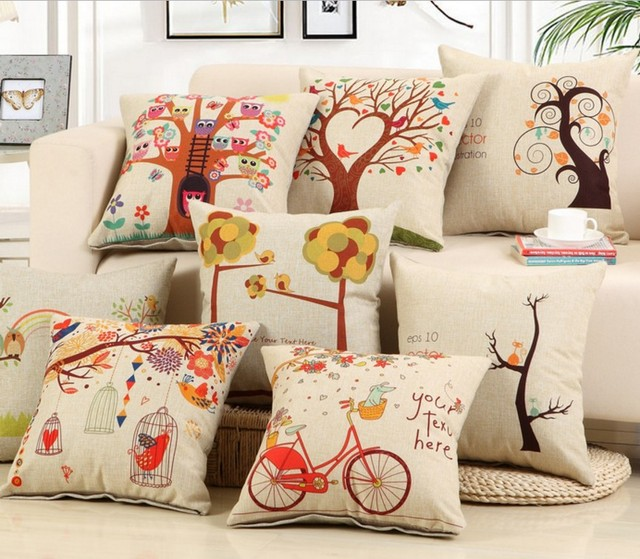 Awesome New Wish Tree Owl Cushion Covers Bird Printed Home Decoration Cotton Linen  Sofa Pillow Cover Car