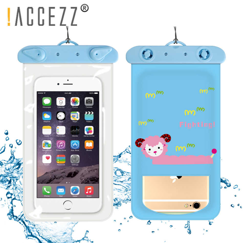 !ACCEZZ Waterproof Mobile Phone Pouch Bag For iPhone X 6s 5 Plus Samsung S9  Clear PVC 6inch Cute Underwater Swim Dry Cover Case