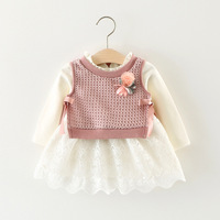 2017 Kids Clothes Brand New Baby Girls Clothes Sets White Cotton Lace Long Sleeves Dress Flowers