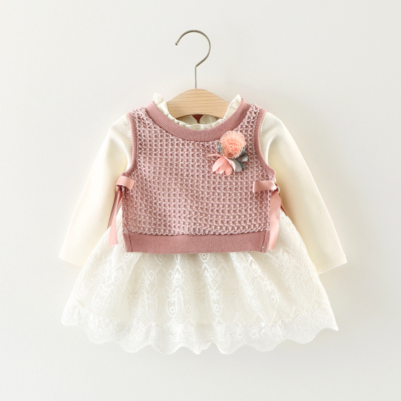2017 Kids Clothes Brand New Baby Girls Clothes Sets White Cotton Lace Long Sleeves Dress+Flowers Wool Vest 2Pcs Girls Clothing autumn winter plaid wool two pieces girls children suit vest dress kids clothing sets white red wool