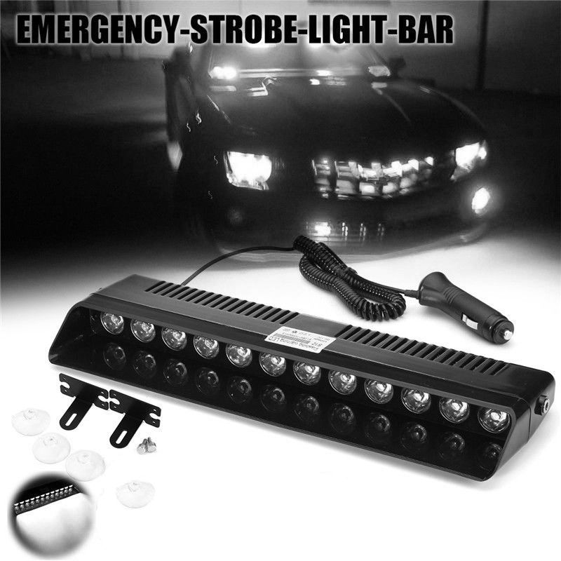 High Quality 1 Set 12 LED Car Truck Emergency Strobe Light Bar Dash Flash White Lamp with Bracket Accessories g126y 2pcs red led light 25 31mm spst 4pin on off boat rocker switch 16a 250v 20a 125v car dashboard home high quality cheaper