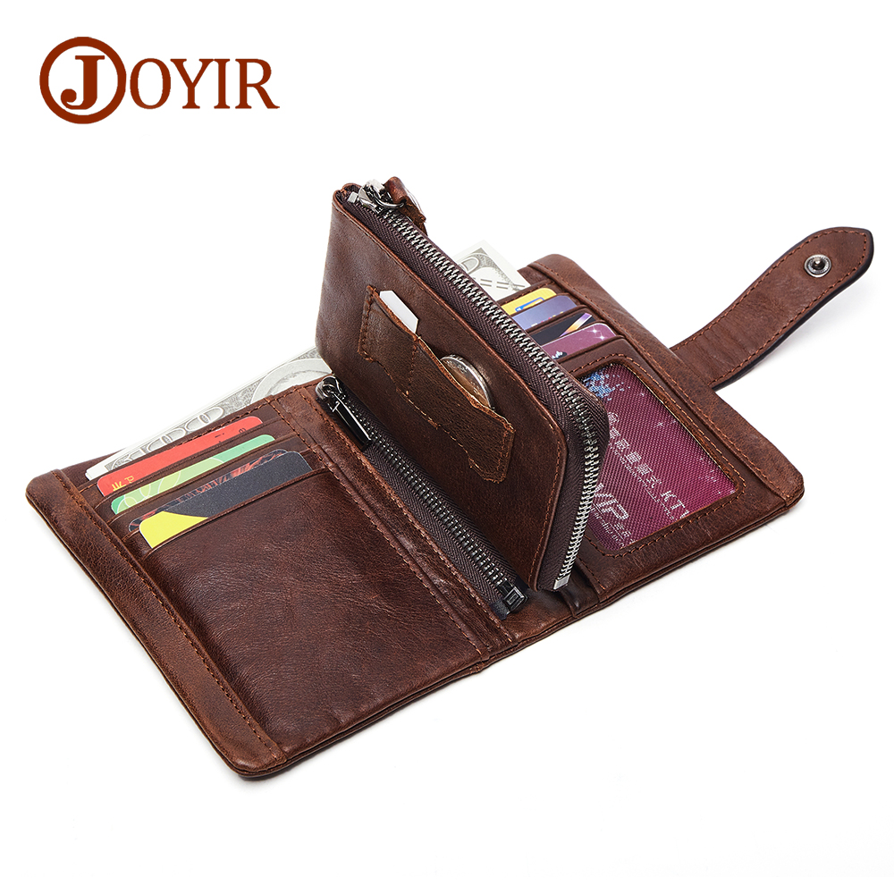 JOYIR Wallet Men Leather Genuine Solid Men Wallets Leather Coin Purse Zipper Vintage Card Holder Short Carteira Masculina 2041 2017 new wallet small coin purse short men wallets genuine leather men purse wallet brand purse vintage men leather wallet