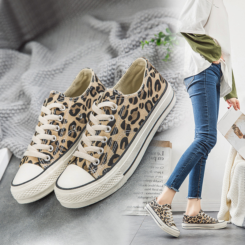 c3e2ee1b9f0b Women Flats Lace up Tennis Shoes Ladies Canvas Leopard Vulcanized Shoes  Female Sneakers Fashion Casual Platform Shoes New
