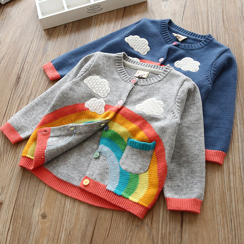 2018 New Spring Autumn Kids Sweater Rainbow Colours Printing Baby Girls Knitted Cardigan Girls Rainbow Sweaters