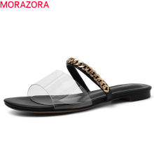 MORAZORA 2019 Brand shoes woman slipper chain summer shoes fashion pvc transparent shoes comfortable simple flat shoes woman(China)