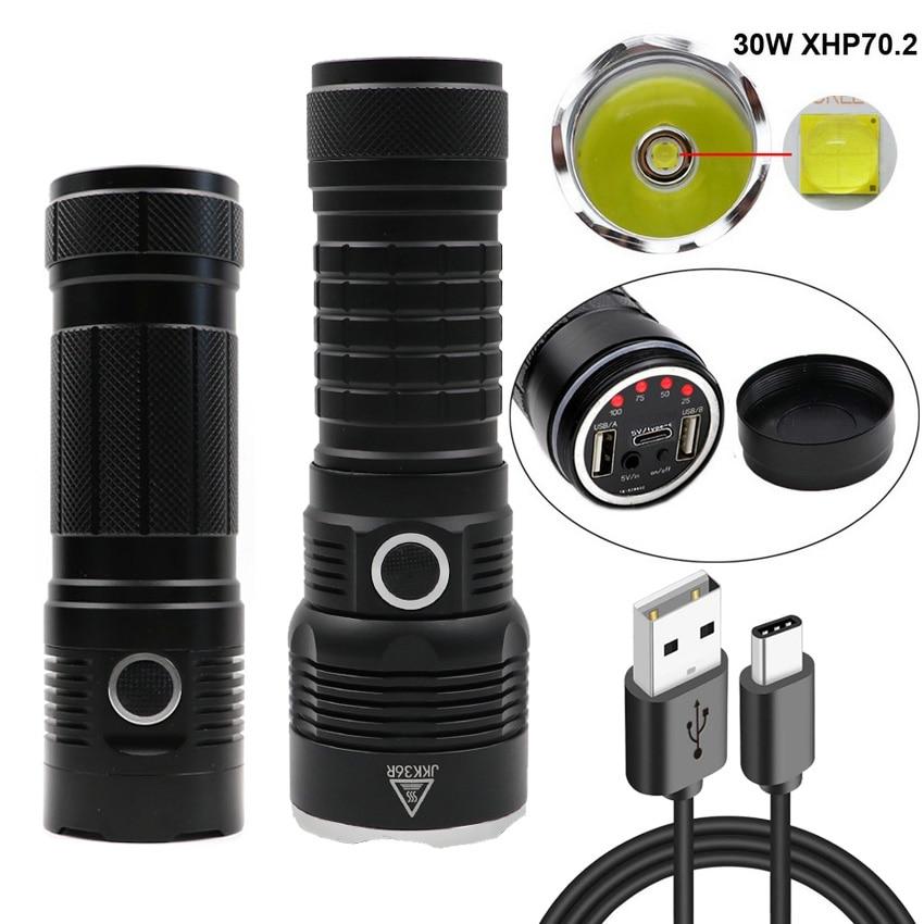 Hunting spotlight XLamp xhp70 2 most powerful led flashlight usb torch xhp70 18650 Rechargeable battery lantern