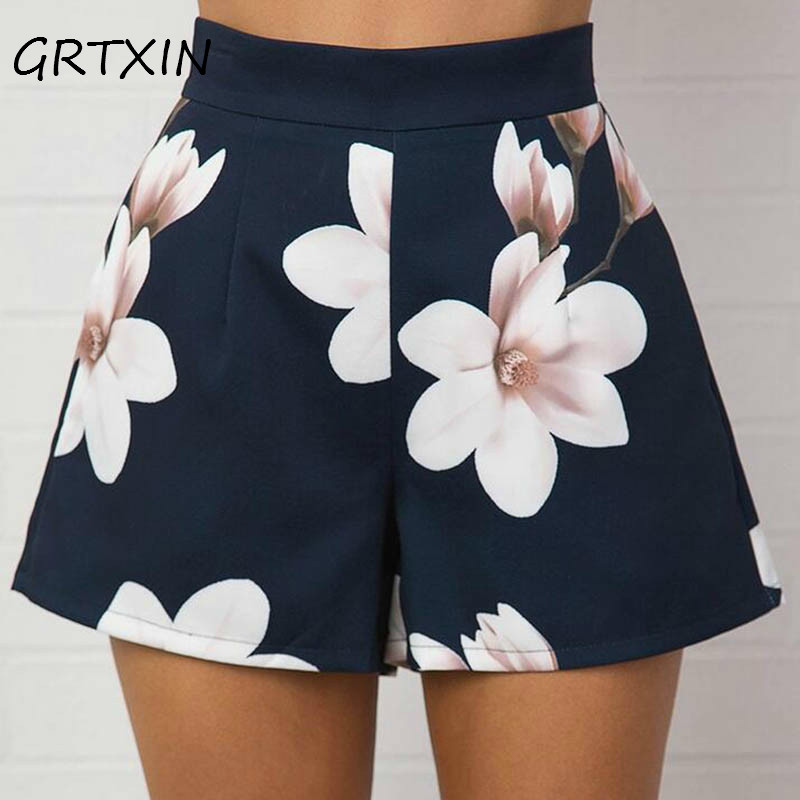 Fashion Summer Women <font><b>Sexy</b></font> <font><b>Shorts</b></font> High Waist Zipped Flowers Printing Ladies Girls Casual Wide Leg <font><b>Short</b></font> Trouser image