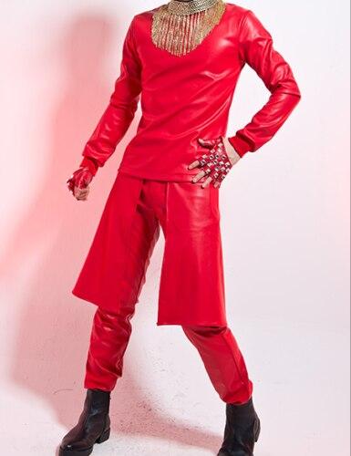 DJ T-Shirts à manches longues hommes en cuir grande taille haut solide 3 couleurs noir blanc rouge
