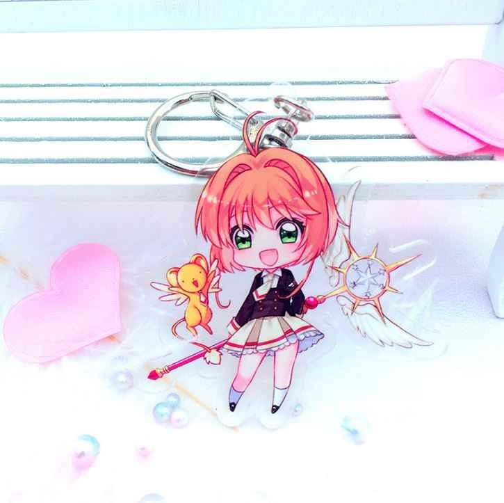 1 PC Menggemaskan Anime Cardcaptor Sakura Gantungan Kunci Model Mainan Acrylic Transparan Kunci Gantungan Kunci Rantai Gadis Hadiah