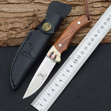New Fixed 7Cr13Mov Blade Knife With Leather Sheath ELK RIDGE Camping Survival Knives Hunting Tactical Knifes Outdoor EDC Tools 1