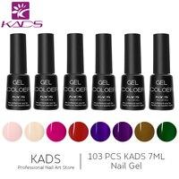KADS 103 pcs Nail Gel Polish Set LED/UV 7ml Gel Long Lasting Polish Soak Off Manicure Top Coat And Base Coat Gel lacquer