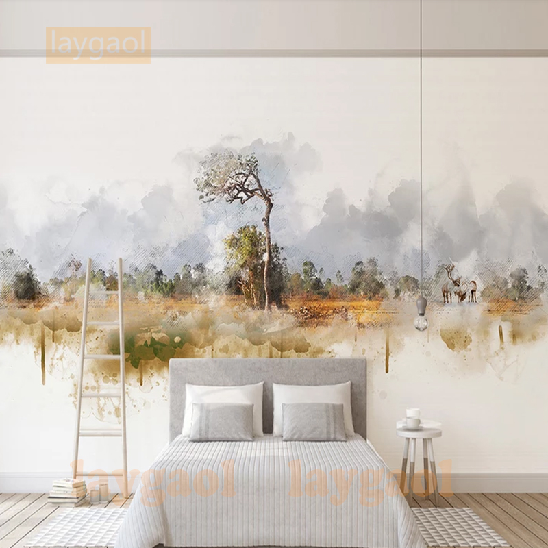 Custom 3D Mural Wallpaper North Europe Simple Photo Background Wall Murals Abstract Tree Landscape Non-woven Wallpaper Modern
