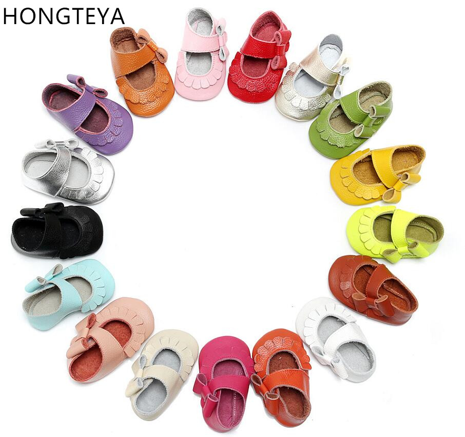 Hongteya-Hot-sale-17-colors-New-Genuine-Leather-Baby-Infant-Toddler-Moccasins-Non-slip-side-bow-mary-jane-Soft-Moccs-Shoes-2