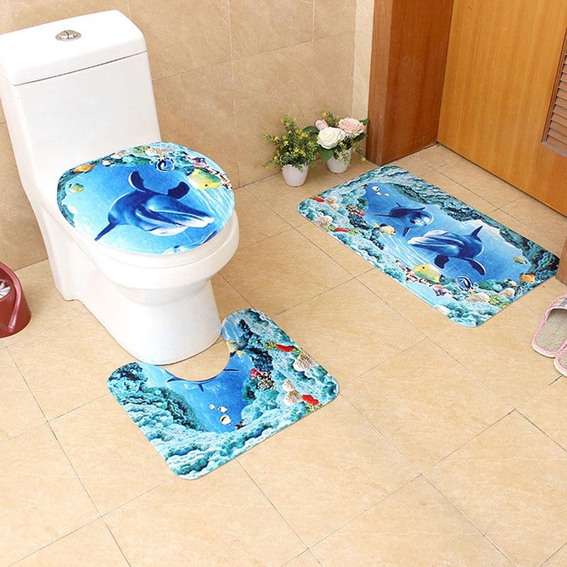 Incredible Us 14 98 20 Off 3Pcs Lot Sea Style Pattern Toilet Seat Cover Flannel Fabric Toilet Case Beach Bathroom Mat Home Decoration Door Non Slip Mat In Inzonedesignstudio Interior Chair Design Inzonedesignstudiocom