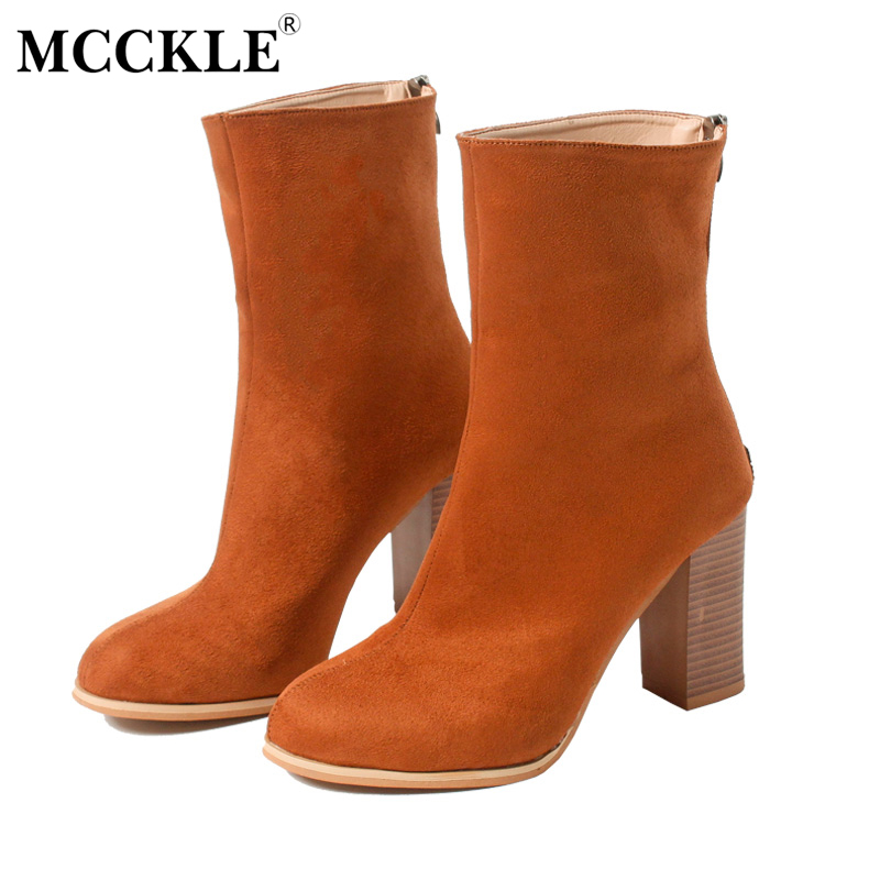 MCCKLE 2017 Women's Fashion Zip Thick Heel Ankle Boots Female Spring Autumn Solid Comfortable Style High Heels Plus Size 34-43 mcckle 2017 ladies fashion sexy autumn winter ankle boots female slip on zip black solid platform high heels plus size34 43