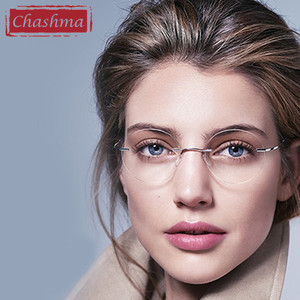 Image 1 - Chashma New Brand Titanium Rimless Eyeglasses Frames Ultra Light Myopia Round Vintage Glasses Optical Frame for Male and Women