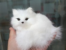 Simulation white fox polyethylene&furs fox model funny gift about 13*12*9.5CM