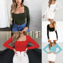 Feitong 2018 Fashion Women's Long Sleeve Solid Square-Neck Blouse Long Top Loose shirt New arrival(China)