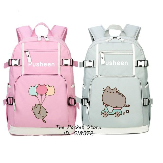 High Quality 2017 New Cute Pusheen Backpack Kawaii Cat Printing Pusheen School Bags For Girls