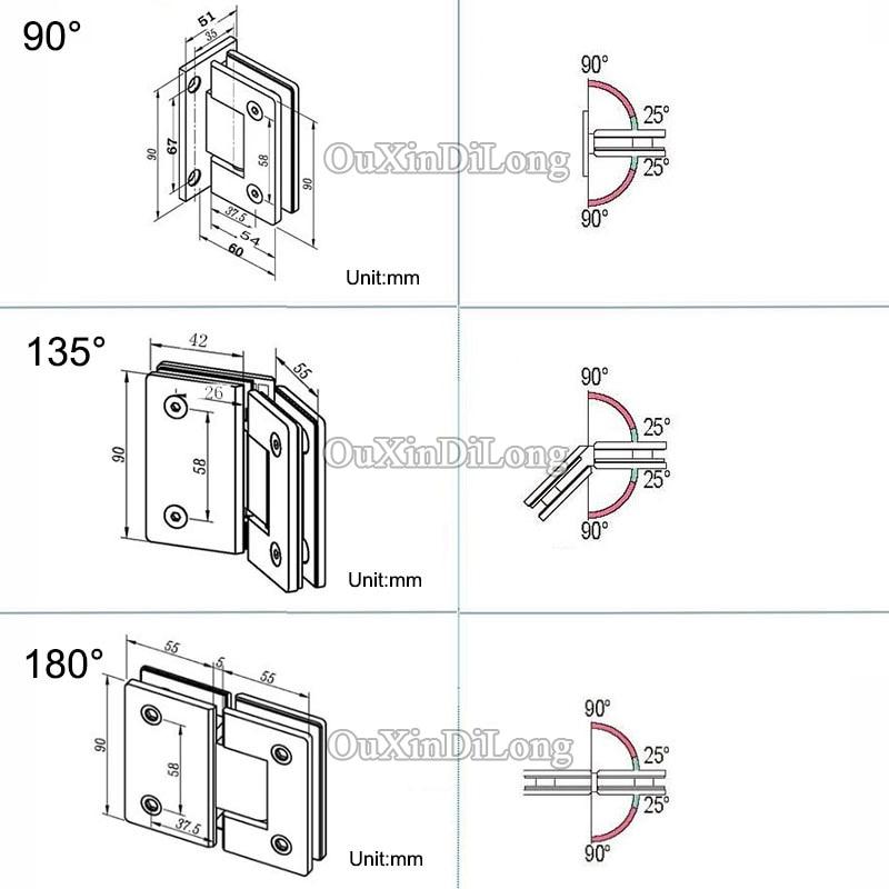 High Quality 2PCS 304 Stainless Steel Frameless Shower Glass Door ...