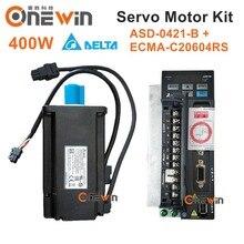 Дельта 400 Вт AC Серводвигатель drive kit ECMA-C20604RS + ASD-B2-0421-B диаметр 60 мм 220 В 1.27NM 3000 об./мин. с 3 м кабель