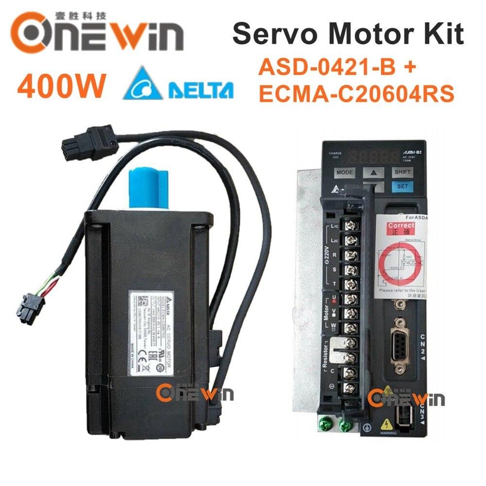 Delta 400W AC servo motor drive kit ECMA-C20604RS+ASD-B2-0421-B diameter 60mm 220V 1.27NM 3000rpm with 3m cable 80mm 220v 400w 1 27nm 3000rpm 17bit asd b2 0421 b ecma c20804s7 delta brake ac servo motor