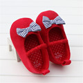 2016 Autumn Baby Girl Shoes Red Heart Sole With Navy Striped Bow Baby First Shoes Scarpe Neonata Meisjes Schoenen Toddler Shoes