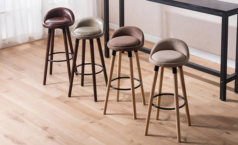 simple fashion Solid wood high bar stool chair front desk ...