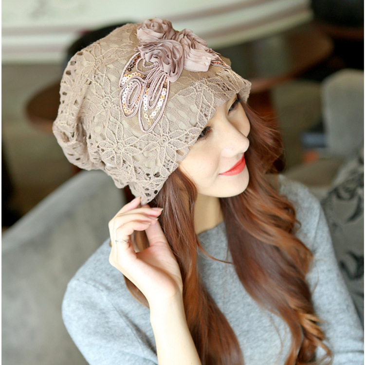 1 Pcs 2018 New Korean Spring Autumn Women Bud Silk Flowers Knitted Cap Cotton Double Lili Hat For Women