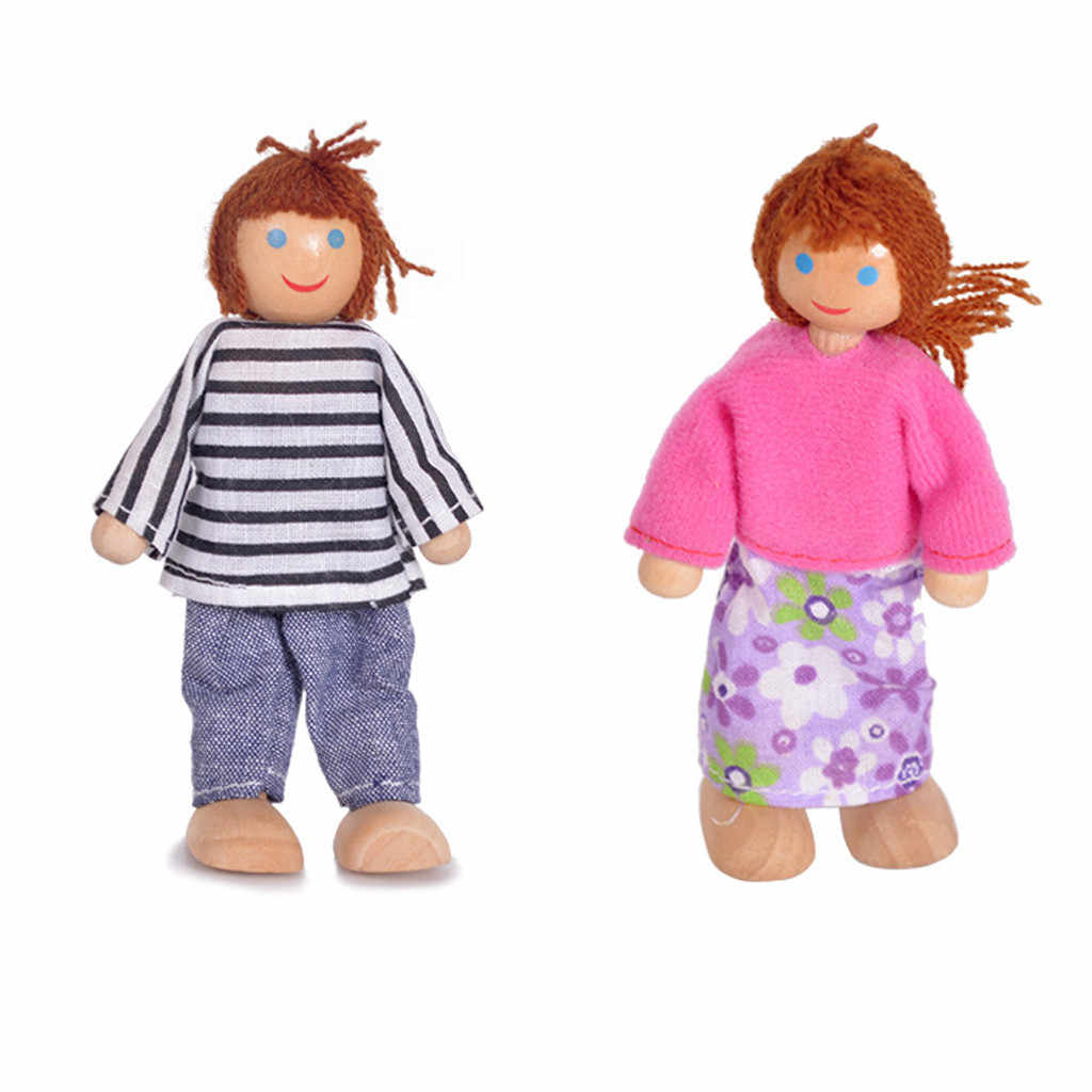 7 шт. деревянная мебель куклы дом семья человек Фигурки миниатюрный набор куклы игрушки ролевые игры кукольный домик для детей детская игрушка