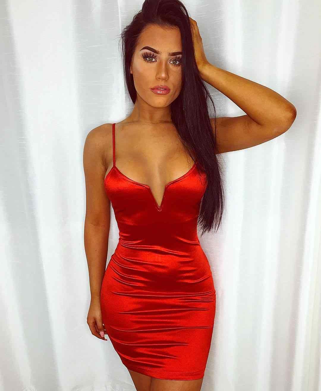 Toplook Bustier Vestidos sexis para mujeres con cuello en V profundo satinado botin vestido Fitness cintura alta fiesta Club nocturno Mini trajes 2019 Vestidos