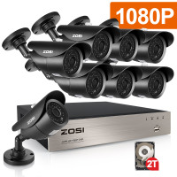 ZOS 8CH CCTV System 1080P HDMI AHD CCTV DVR With 2000GB HDD 8PCS 2 0 MP