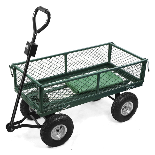 HOT GCZW Small Scale 200kg Metal Garden Outdoor Utility Hand Cart With  Interior Cover