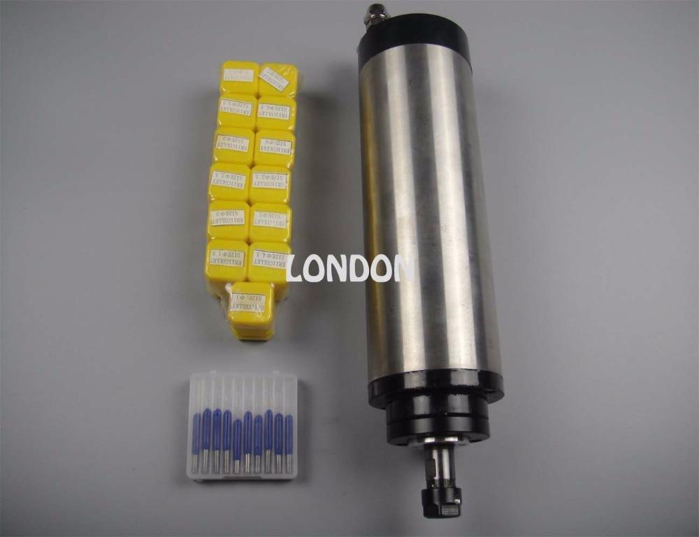 Zestaw wrzeciona CNC Silnik wrzeciona chłodzący wodę ER11 800 W + 13 sztuk tulei zaciskowych ER11 + 10 sztuk bitów do grawerowania cnc