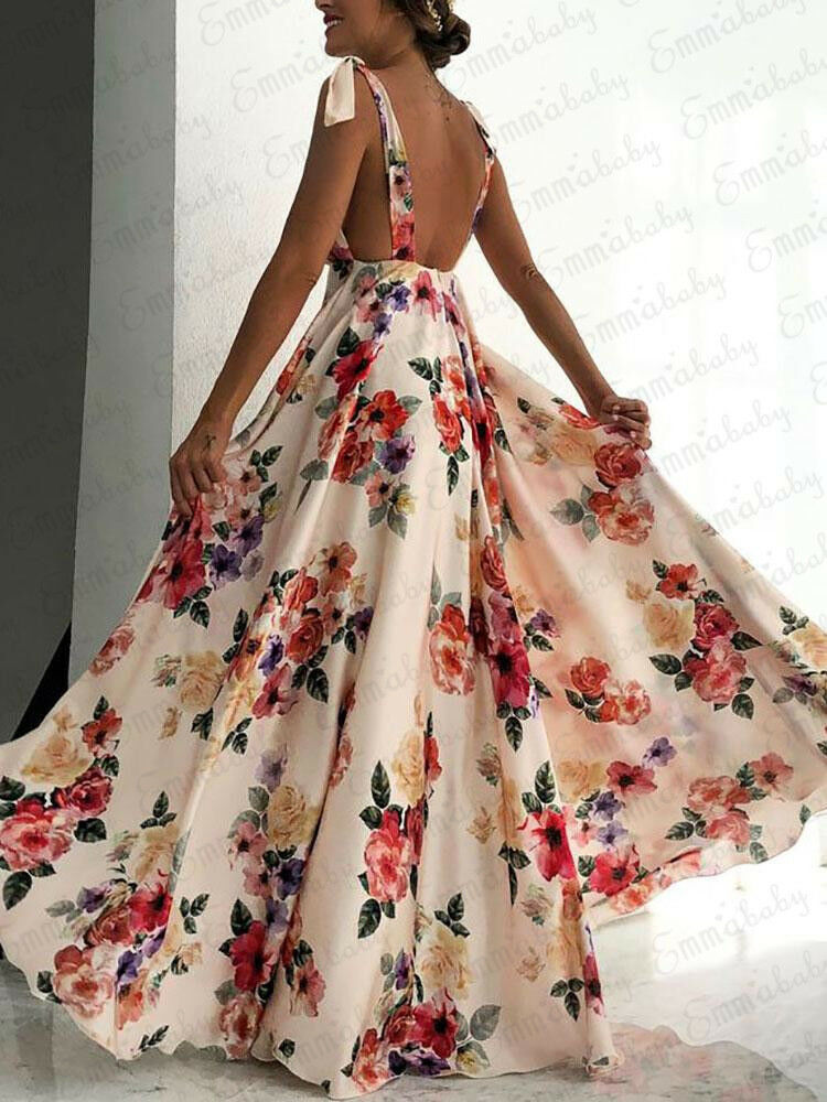 <font><b>Sexy</b></font> Floral Print Women Summer Sleeveless V-Neck Backless <font><b>Vintage</b></font> Long Boho Party Cocktail Casual Loose Beach Pink <font><b>Dress</b></font> image