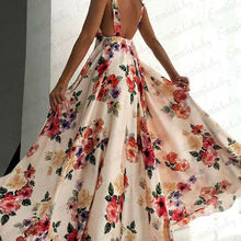 Sexy Floral Print Women Summer Sleeveless V-Neck Backless Vi