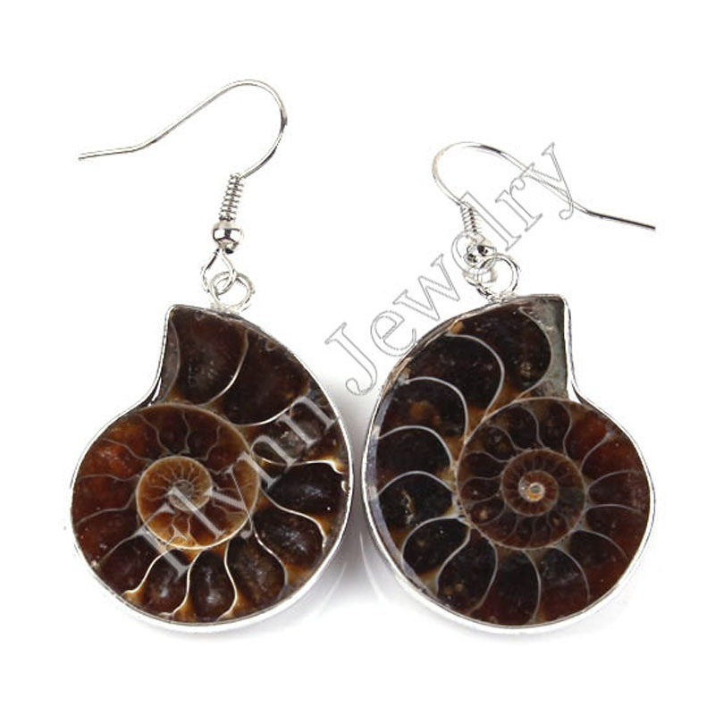 Different Half Natural Original Ammonite Conch Fossil Dangle Earrings Charms Silver Plated European Retro Jewelry Gift 10Pairs in Drop Earrings from Jewelry Accessories