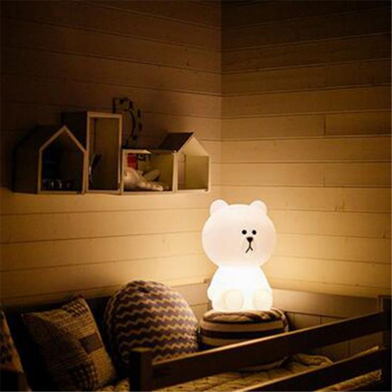 Ins Hot Lovely White Teddy Bear Children LED Bed Table Lamp Dimmable Baby  Bedroom LED Night Light For Kids Gift In LED Table Lamps From Lights U0026  Lighting On ...