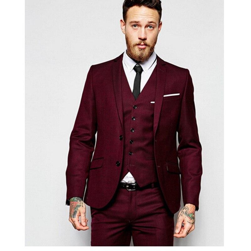 2017 Colete Homem Men Wedding Suits Formal Groom Men Suit Two Buttons Burgundy Tuxedo Jacket Mens Suits 3 Pieces Costume Homme