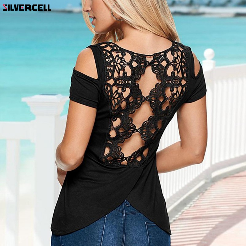 Sexy Women Summer Off Shoulder T-Shirt Casual Back Embroidery Lace Crochet Tee Tops Shirt