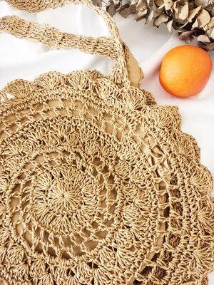 Bohemian Paper rope Straw Bags for Women Big Circle Beach Handbags Summer Vintage Rattan Bag Handmade Kintted Travel Bags 5