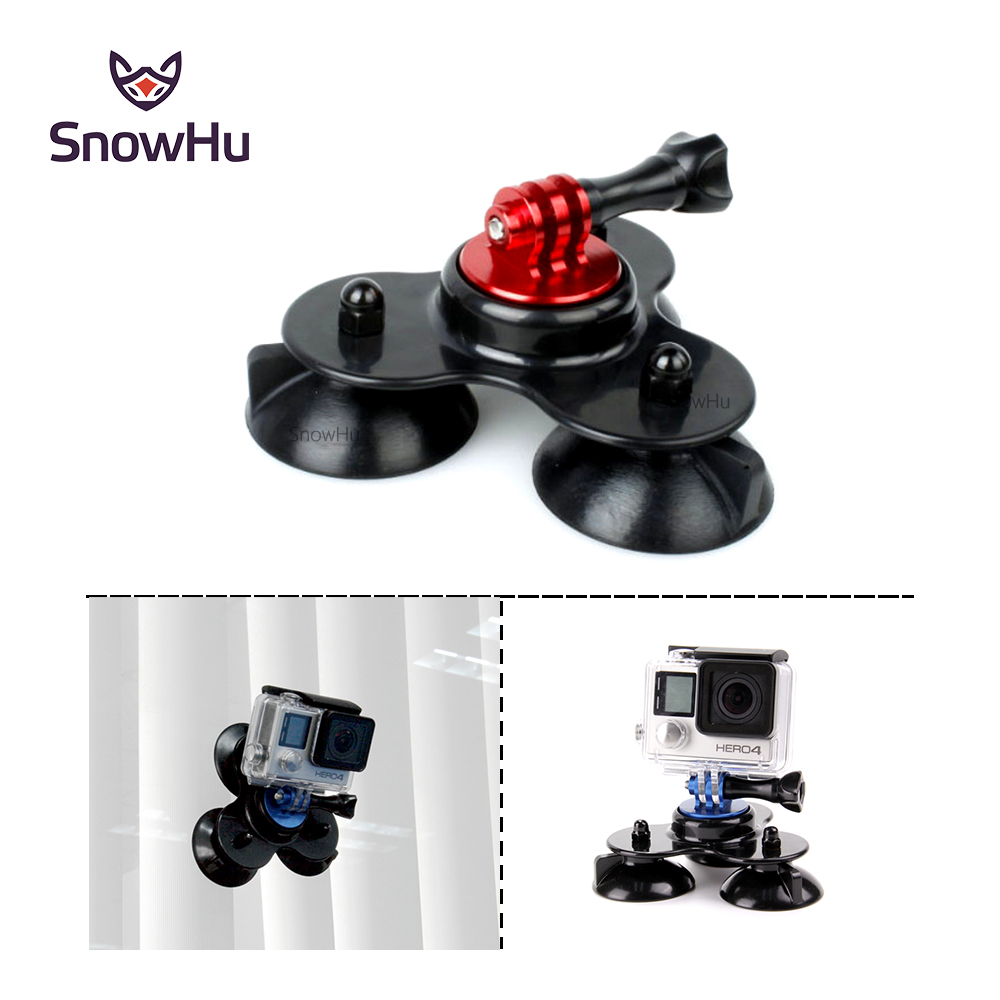 Snowhu extraíble tri-ángulo de succión copa de montaje con CNC aleación de aluminio tornillo de montaje para GoPro Hero 5 4 3 para xiaomi Yi sjcam gp141