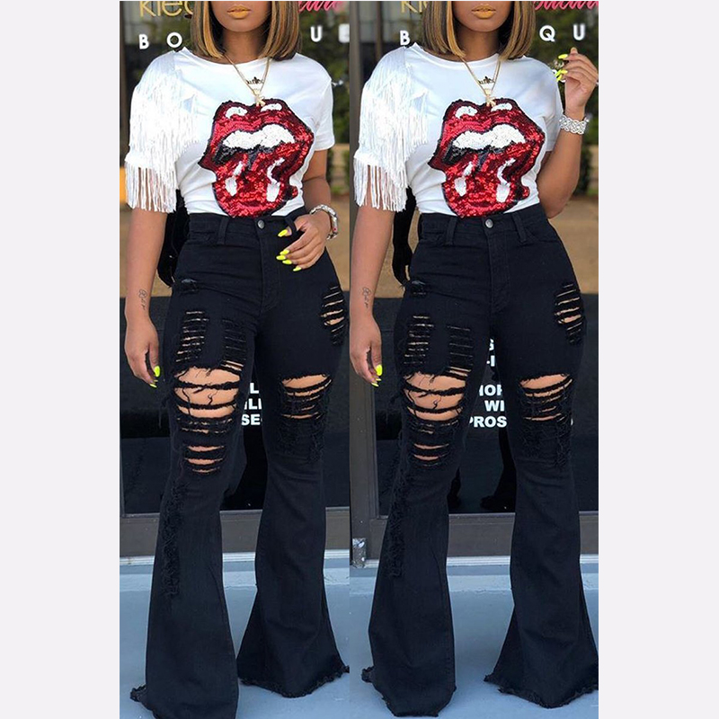 Flare Jeans Pants Bell-Bottom Wide-Leg Black Female High-Waist Large-Size Women Denim