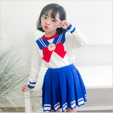 Children Autumn Sweat Baby Girls Clothing sets Knit Sweater with Pleated Skirt Girls Sets