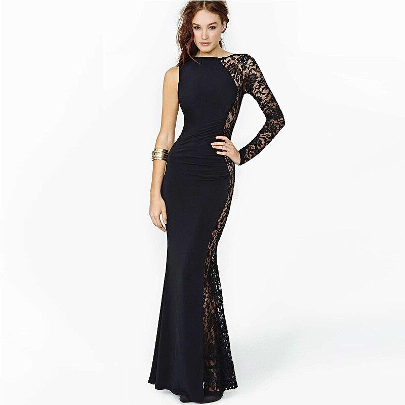 ᗗEuropa moda sexy Encaje vestido de pescado de costura redondo ...